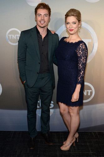 Josh Henderson karatasi la kupamba ukuta containing a business suit, a suit, and a well dressed person titled Josh Henderson and Briga Heelan attending the TBS / TNT Upfront 2014