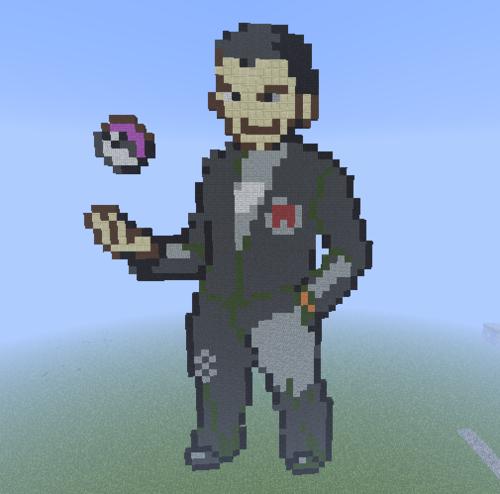 Minecraft(マインクラフト) Pixel Art! 壁紙 titled Kanto Gym Leader: Giovanni