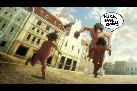 Attack on Titan 壁纸 probably with a street, a business district, and a 赤褐色砂石, 褐砂石, 上流社会 titled Kick the baby