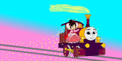 Thomas the Tank Engine wallpaper entitled Lady & Princess Vanellope spread out Gold Dust