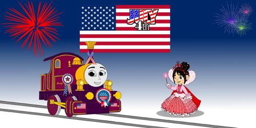 Thomas the Tank Engine wallpaper possibly with anime called Lady & Vanellope celebrate the 4th of July