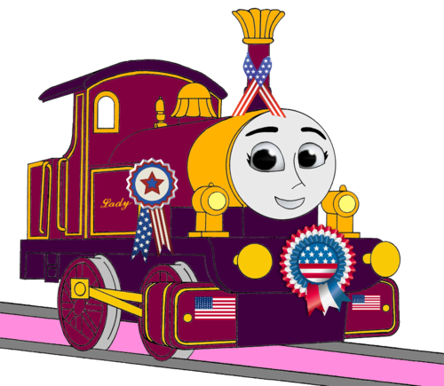 Thomas the Tank Engine wallpaper possibly with anime titled Lady with 4th of July Decorations