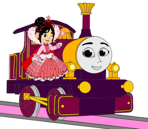 Thomas the Tank Engine wallpaper possibly containing anime titled Lady with Princess Vanellope