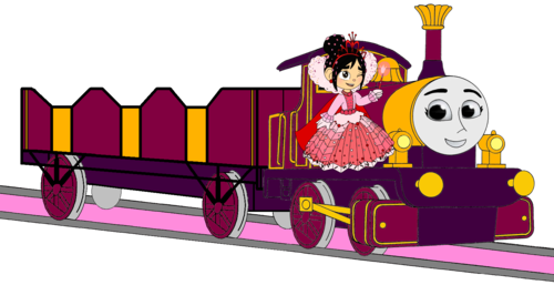 Thomas the Tank Engine achtergrond entitled Lady with her Open-Topped Carriage & Vanellope beside her