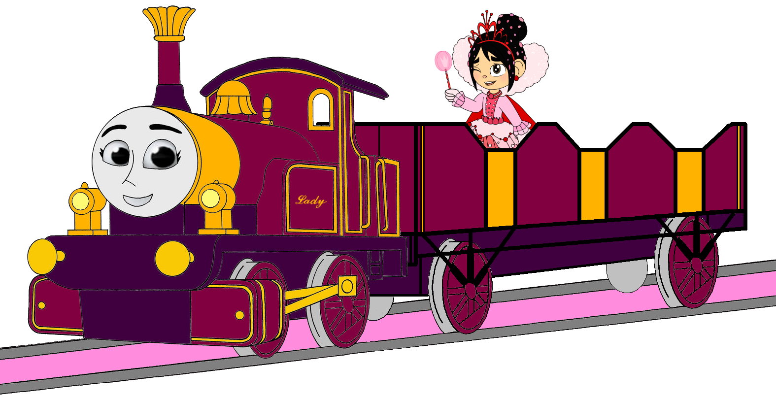 Lady with her Open-Topped Carriage & Vanellope travelling on it (Mirrored)