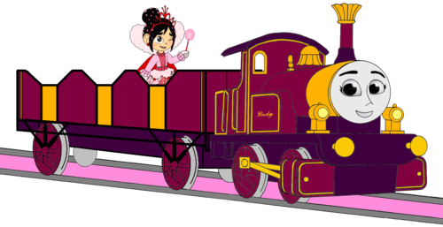 Tomy Thomas And Friends wallpaper entitled Lady with her Open-Topped Carriage & Vanellope travelling on it
