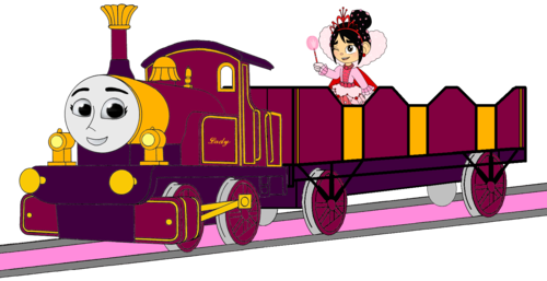 Tomy Thomas And Friends wallpaper possibly with anime entitled Lady with her Open-Topped Carriage & Vanellope travelling on it (Mirrored)
