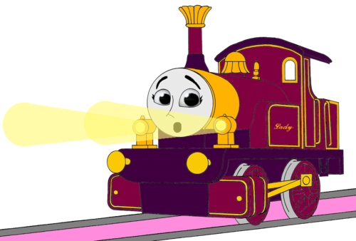 Thomas the Tank Engine wallpaper titled Lady with her Surprised & Frightend Face & Shining Gold Lamps (Mirrored)