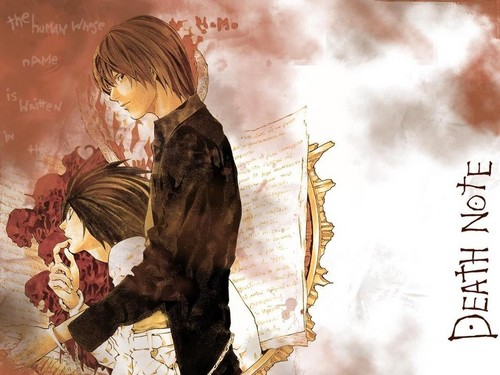 Death Note achtergrond possibly with anime entitled Light Yagami and L Lawliet