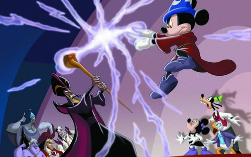Childhood Animated Movie Villains wallpaper called Mickey vs. Jafar