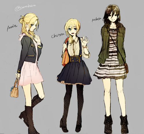 Shingeki no Kyojin (Attack on titan) achtergrond with a hip boot entitled Mikasa, Historia, and Annie