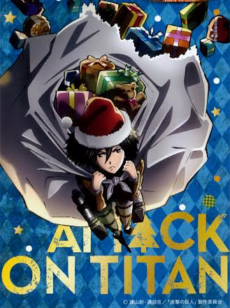 Attack on Titan karatasi la kupamba ukuta containing anime entitled Mikasa saves Christmas!