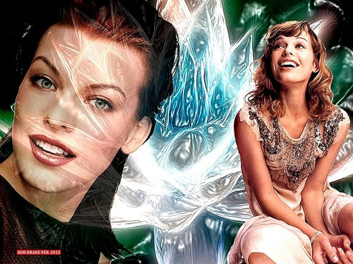 Milla Jovovich wolpeyper possibly with a portrait entitled Milla