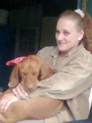 My Mom with our dog