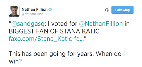 Nathan Fillion wallpaper entitled Nathan about Stana(July,2014)