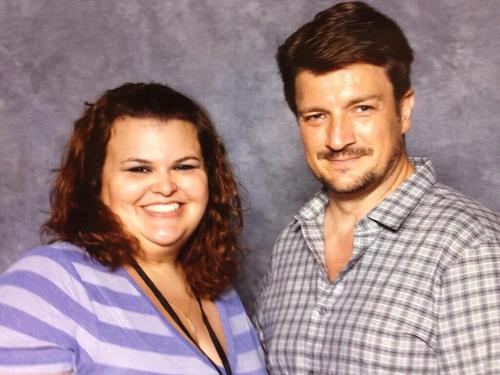 Nathan Fillion 壁纸 possibly with a portrait entitled Nathan and a fan(June,2014)