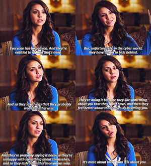 Nina speaking about cyberbully