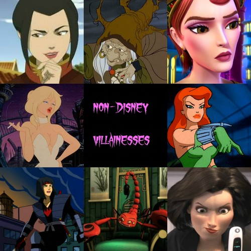 Childhood Animated Movie Villains Hintergrund with Anime entitled Non-Disney Villainesses