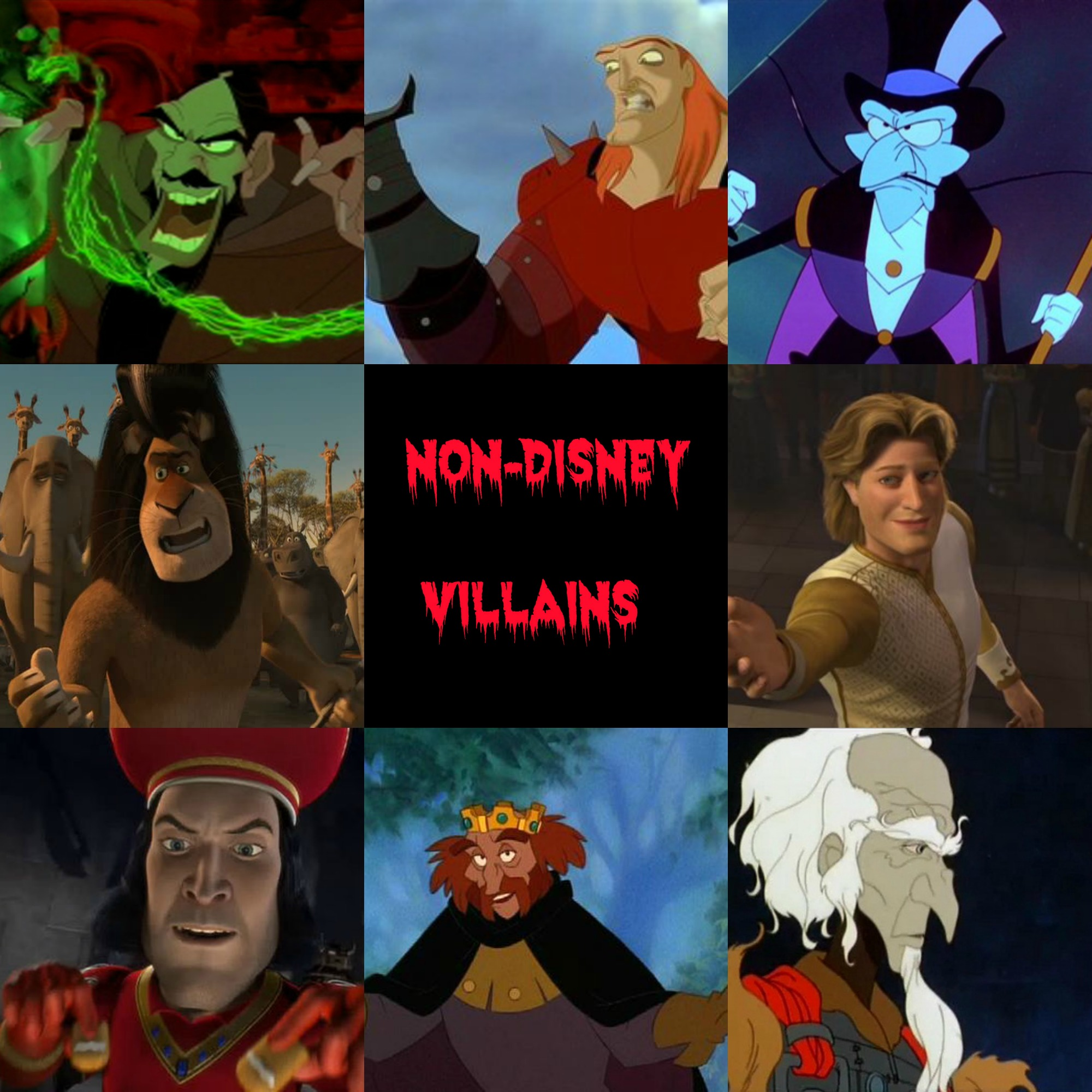 nondisney villains childhood animated movie villains