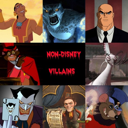 Childhood Animated Movie Villains wallpaper probably containing a sign called Non-Disney Villains