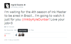 OMG!!! Kyle Dunbar from Ink Master favorited my Tweet!!! YAY!!!