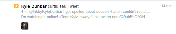 Oh Lord! Kyle favorited my other tweet!!! Woohoo!!!