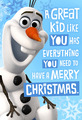 Olaf krisimasi card from Hallmark
