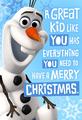 Olaf Christmas card from Hallmark