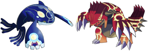 pokémon wallpaper titled Prime Kyogre and Groudon.