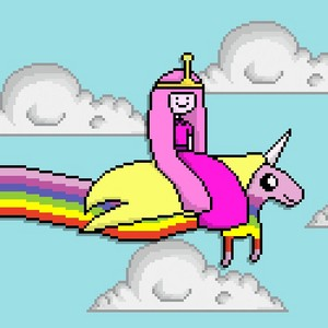 Princess Bubblegum riding Lady Rainicorn