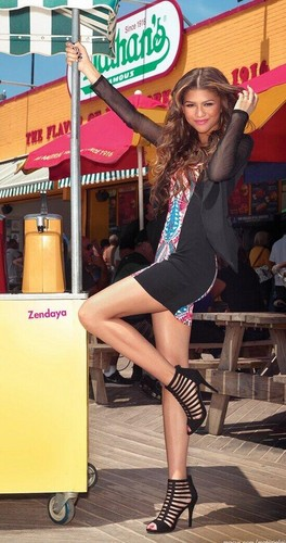 Zendaya Coleman wallpaper with bare legs, hosiery, and a hip boot titled Promotional pictures for 'Material Girl' campaign