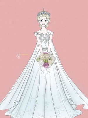 Queen Elsa in her  Wedding dress