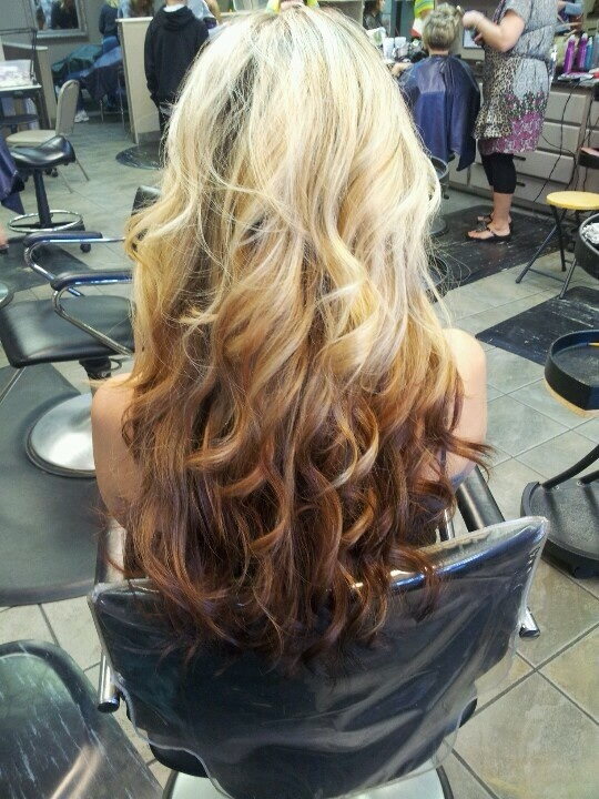 Reverse Ombre Blonde to Auburn Hair