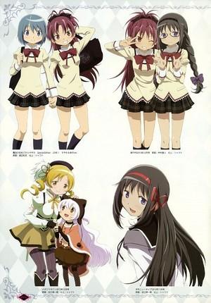 Schoolgirls, Mami, Nagisa, and Homura