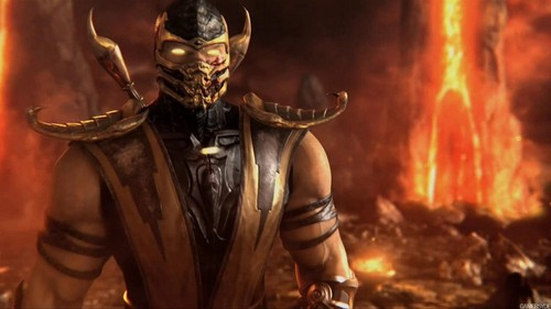 Mortal Kombat Wallpaper Probably Containing A Breastplate Fire And Called Scorpion