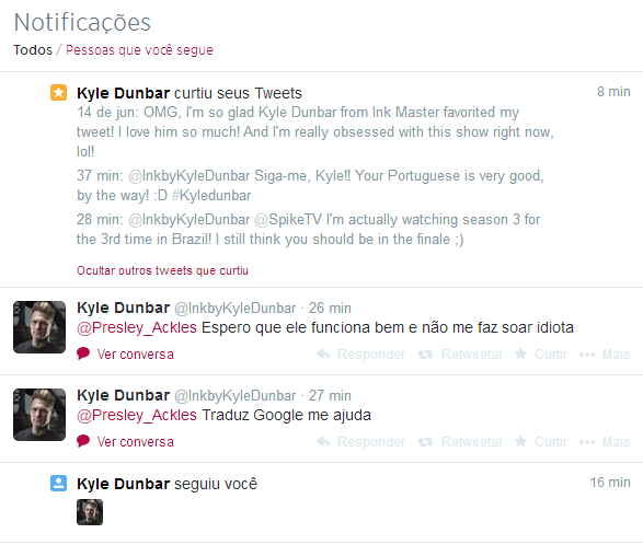 So, tonight I went to my Twitter and I see this... OMG, Kyle is talking to me and HE FOLLOWED ME!!!!