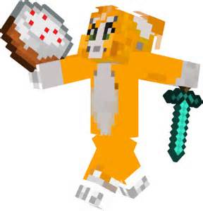 Stampy running with his cake and his diamond sword