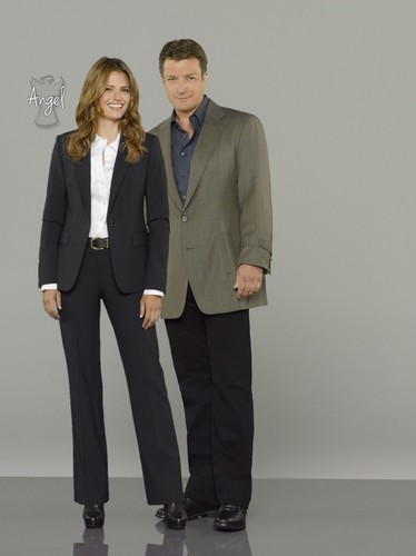 Nathan Fillion & Stana Katic wallpaper with a business suit, a suit, and a two piece entitled Stanathan-Promo pic season 6