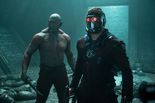 Guardians of the Galaxy 바탕화면 probably with a gasmask called Star-Lord and Drax The Destroyer