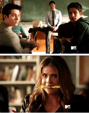 Stiles and Scott looking at Malia