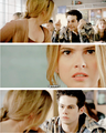 Stiles putting thumbs up and Malia growling. <3