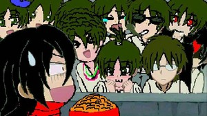 Ten Eren's and Mikasa with macaroni!