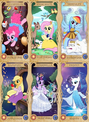 My Little Poney karatasi la kupamba ukuta called The Mane 6 as Disney Princesses