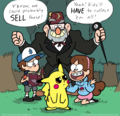 The Pines family comes across Pikachu - gravity-falls photo