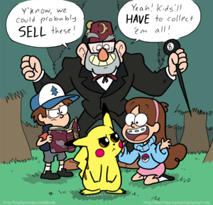 The Pines family comes across ピカチュウ