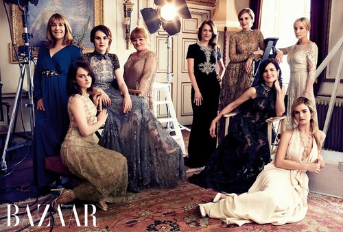 Downton Abbey karatasi la kupamba ukuta probably with a bridesmaid, a chajio, chakula cha jioni dress, and a polonaise called The ladies of Downton Abbey // August issue Of Harper's Bazaar UK