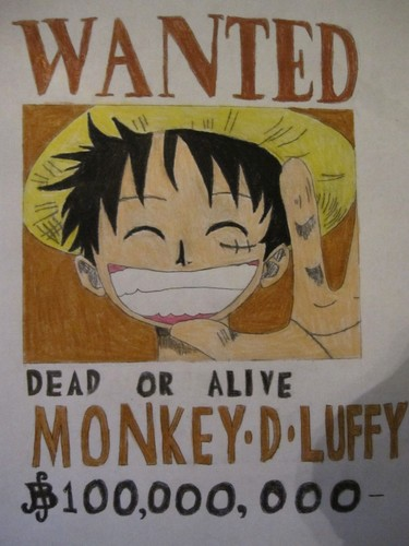 Anime Drawing Hintergrund with Anime entitled Wanted poster of luffy