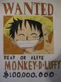 Wanted poster of luffy