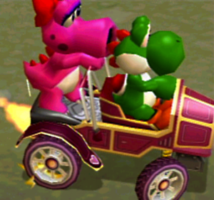 Yoshi and Birdo in the corazón Coach