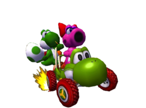 Yoshi and Birdo racing in the Turbo Yoshi